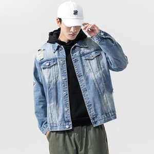 Men's bomber Jacket Ripped Hole Jacket Fashion Streetwear Casual Plus Size Jacket Mens Hip Hop Street Style 2020 New Jeans Coat