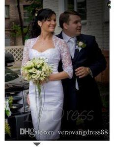 Spaghetti Straps Sheath Short Wedding Dress With Jacket