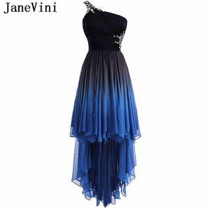 Janevini Fashion 2019 Alto Gradiente de bajo gradiente Vestidos de dama de honor largos de un hombro con cuentas con cuentas sin espalda Longitud de piso de respaldo Vestidos formales de fiesta