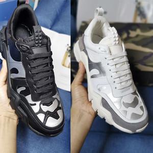 Los hombres de lujo Rockrunner camuflaje de diseño zapatillas de deporte zapatos Rockstuds Escaladores Vintage Formadores remiendo de alta calidad del diseño de cuero real US11