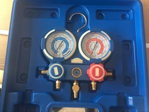Freeshipping R410a R22 R134A R407C Carro Dual Manômetro De Pressão Manômetro Com Refrigerante Tubo de Ar Condicionado