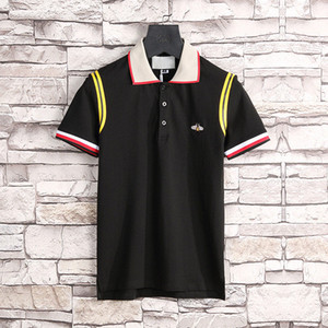 Novo Luxury Designers T-shirt para Homens Stripe Moda Poloshirt Camisa Homens High Street Snake Pequeno Tigre Tigre Print Mens Polo Camisa