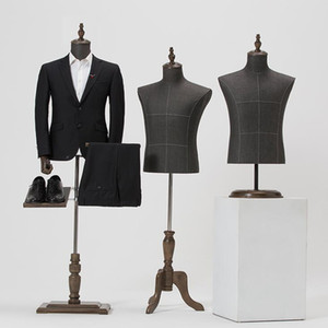 2style male mannequin body half length model suit, pants, Pants rack display clothing store wood Dase Adjusted height D146
