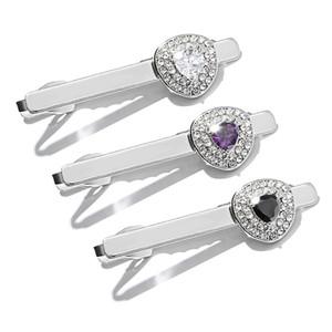 Regalo creativo per uomini creativi con fermaglio in acciaio con inserto in diamanti e fermagli per colletto in zirconio 12.7g bianco nero colore viola