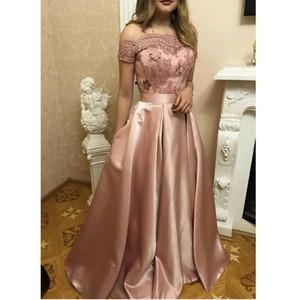 Blush Pink Prom Dresses Pageant 2019 Bescheidene Mode Applizierte Lace Sheer Neck Sexy Abendkleid in voller Länge zum Schnüren Zurück Billig