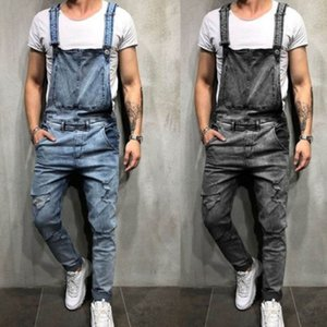 Pantalones Diseño retro delgado de la manera Negro azul del dril de algodón del mono destrozado de los pantalones vaqueros del dril de algodón del mameluco de los pantalones vaqueros Hombre Mono babero Jean
