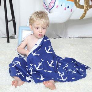 Nordic стиль мультфильм печати мягкий хлопок одеяла дети многофункциональный трикотаж бросить одеяло для ребенка сна ванна сфотографировать