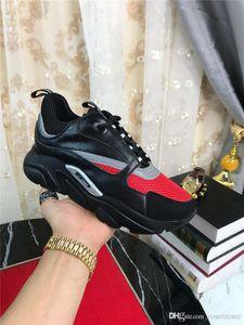 2019DR HOMME B22 NERO ROSSO Sneaker tecnica Knit vitello Trainer Sneakers con la scatola originale
