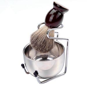 الرجال مقبض فرشاة حلاقة مجموعة الغرير الشعر الخشب الفولاذ المقاوم للصدأ رغوة السلطانية حلاق الرجال اللحية تنظيف الوجه الحلاقة أداة HHA1184