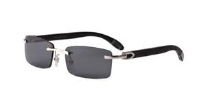 Lunettes de soleil de luxe - 2019 pour hommes femmes blanc lunettes en corne de buffle sans monture designer lunettes de soleil en bois de bambou avec boîte cas lunettes