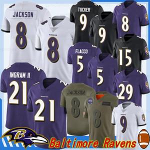Baltimores 8 Lamar Jackson Raven Fußball Jersey 29 Earl Thomas 21 Mark Ingram II 81 Hayden Hurst 15 Marquise Brown 9 Justin Tucker