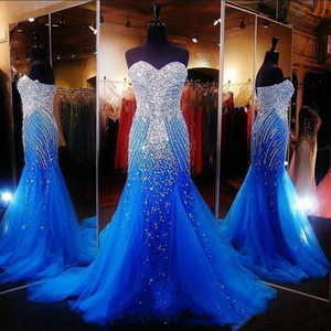 Luxury Ocean Blue Strapless Beaded Mermaid Long Formal Party Evening Gowns Tulle Crystals Sweep Prom Dresses
