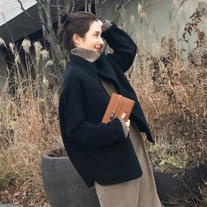 Women's Wool & Blends 2021 Women Woolen Coat Thicken Long Sleeve Medium-short Collar Open Front Parka Belt