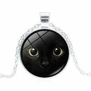 siyah kedi yüzü zaman taş kolye cabochon cam kolye kazak zincir toptan 2019 yeni kedi yüzü deseni kolye kolye