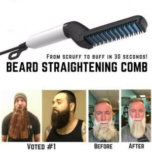 Hair Curling Iron Men's All In One Ceramic beard Styling Iron Comb Beard Straightener Curler Set Quick Hair Styler for Men