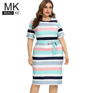 2020 Summer Womens Plus Size Striped Dress fashion Casual midi Contrast Bandage dress 4XL 5XL 6XL MX200518