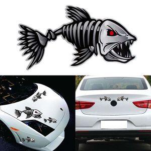 2pcs / paire 40 * 20cm voiture de coiffure autocollant de voiture Skeleton Fish Bones décalque de vinyle autocollants Kayak Bateau de pêche voiture Autocollants graphiques drôles