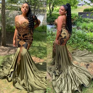 Amazing Mermaid Prom Dresses Spaghetti Straps Lace Evening Gowns Sequined Appliqued Satin Sweep Train Plus Size Formal Dress