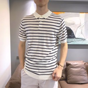 Spring   Summer 2020 High End Quality Fashion Trend Men's 100% Cotton Knitted Polo Shirt Men's Pure Cotton Striped Lapel Men's Short Sleeve