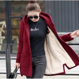 Autumn winter new fashion version of the cloak thicker velvet hooded sweater maternity loose jacket coat casaco feminino