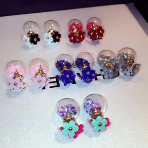 New ins colorful flower transparent crystal glass ball double sided stud earrings for woman girls fashion luxury designer