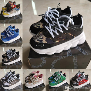 2020 Kids Chain Reaction Designer Shoes White Floral children Shoes Snow Leopard Leather Fashion thick soled daddy shoes