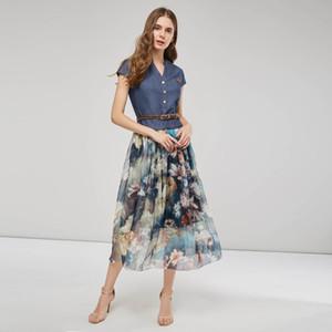 Vintacy Frauen lang Maxi Kleid Patchwork Denim-Weinlese Boho Kleid Chiffon- mit Blumensommerferien-Strand mit V-Ausschnitt Gürtel Taschen Süß