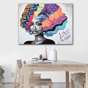 GOODECOR Girl Portrait Poster Graffiti Canvas Painting LOVE IS COLOR Wall art Abstract Pictures For Living Room Decoration