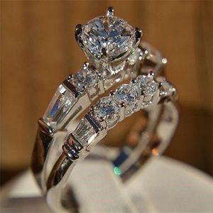 Kadın 2adet Temizle Zirkon Yüzük SJ için Süper Beyaz Altın Renk Zirkon Lady Yüzük Yeni Moda Düğün Nişan yüzüğü Seti Takı Hediyeler