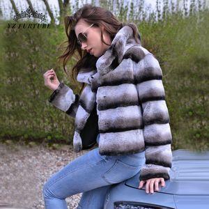 2019 femmes vente chaude réelle manteau de fourrure naturelle haute rex qualité 100% véritable fourrure de veste rex d'hiver couleur chinchilla