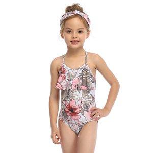 2020 neue Mädchen-Blumen-Bikini-Badeanzug One Piece Art und Weise gedruckte Badebekleidung Badeanzug Mädchen Kind-Schwimmen-Klage Nettes Strand-Set