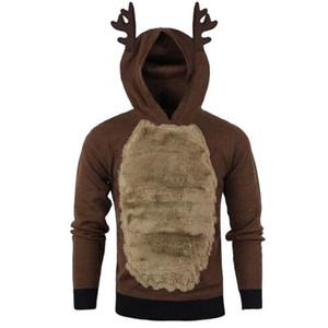 De navidad del remiendo hombres sudaderas con capucha con orejas ocasional otoño suéter de manga larga de vestir exteriores del puente de Halloween Tops