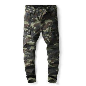 Mens camuflaje Fold Skinny Jeans Diseñador de moda Bolsillo con paneles Causal Camo Stretch Pantalones de mezclilla Hip Hop Pantalones