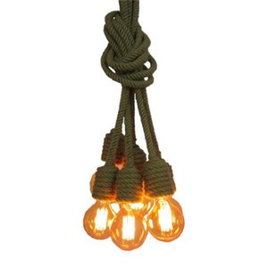 Hemp Rope Chandelier lamp vintage industrial pendant light for Coffee Bar Restaurant Corridor Clothes store Hanging Lamp