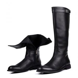Marca postal Mens Rodilla Botas estilo británico de cuero genuino los zapatos de la motocicleta botas de moda para hombre Botas de invierno Masculina 38-44