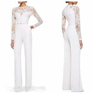 2021 Formal White Custom Mother Of The Bride Pant Suits Jumpsuit Long Sleeves Lace Appliques Slim Women Formal Evening Wear Plus Size