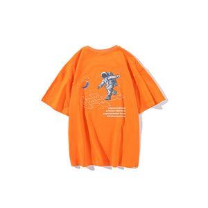 Mode Herren T-Shirt 2020 neue Sommer-Trend kommt Cartoon-Astronaut Druck Kurzarmshirt Ins losen Baumwolle T-Shirt Mann 4 Corlor Größe M-2XL