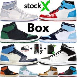 Jumpman 1 Увеличить Racer Синий Royal Obsidian Бесстрашный Travis Скоттс Mens Basketball обувь UNC 1S Turbo Зеленый Чикаго Мужчины Спорт Sneaker с коробкой