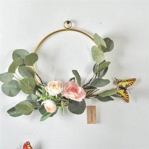 Cilected Ins Nordic Metal Кованые листья эвкалипта венок с Искусственные цветы Свадебные украшения Гобелен Венок