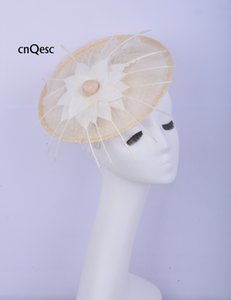 2019 Ivory sinamay fascinator Hair accessory Headpiece Kentucky Derby wedding races bridal shower mother of the bride w feather flower