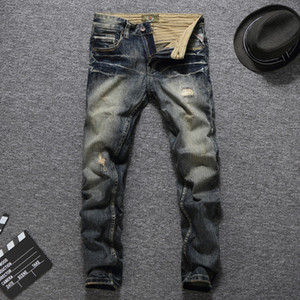 Italian Fashion Men Jeans Vintage Retro Style Slim Fit jeans rotos Homme Balplein Marca de algodón para hombres Denim motorista