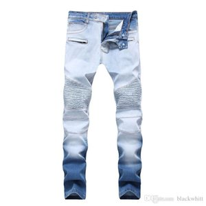 Hot Men &#039 ;S Distressed Ripped Skinny Jeans Fashion High Street Stretch Jeans Zipper Bi -Color White Trousers Free Shipping