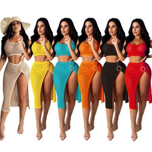 Tasarımcı Seksi İki Adet Yüzük Kısa Bayan Giyim ile Chest Sarılı Seti Hollow Out Bölünmüş Dişi Plaj Elbise