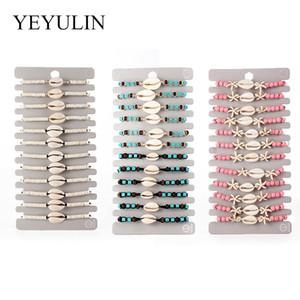 12pcs Bohemian / lot Shell Charms pulseira trançada Para Mulheres Criança Cristal Bead Rope ajustável Cadeia tornozeleira jóias