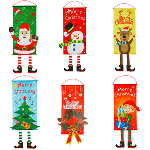 Christmas Decoration Creative Hang Flag Santa Snowman Cloth Window Wall Pendant Xmas Christmas Decorations for Home Store