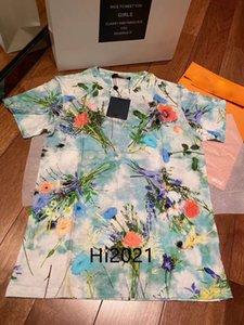 high end kadın kız günlük t-shirt allover çiçek baskı ekip boyun kısa kollu bluz tee 2020 moda lüks tasarım gevşek kazak tops