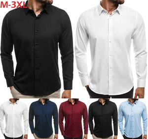 L'arrivée de nouveaux hommes Slim Fit affaires Robe chemise à manches longues Mode Chemises Casual Male Solid Shirts couleur Hauts Vêtements
