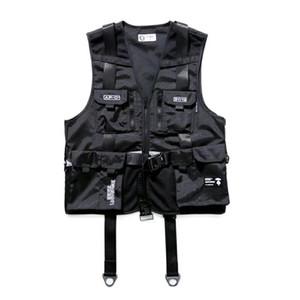 Beliebtes Logo kennzeichnet militärische Overalls mit Mesh-Weste und Hüfte loser sleeveless Strickjacke Jacke Netz