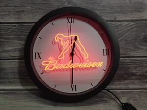 0E133 Budweiser bailarina exótica separador de neón del LED del reloj de pared muestras de la luz RGB barra de aplicaciones