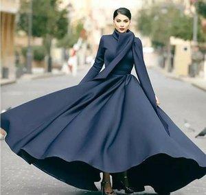 Simples Preto A Linha Modest Muçulmano Vestidos de Baile com Envoltório de Alta Neck Manga Longa Ruched Abric Dubai Vestido Formal Cetim Noite Maxi Vestido